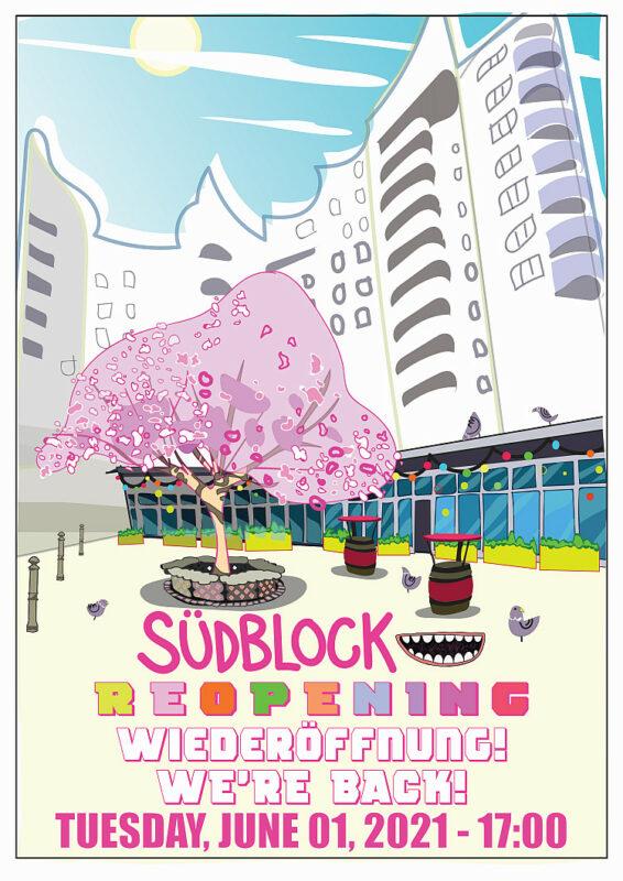 Südblock mit blühendem Kirschbaum - Südblock with blossoming cherry tree Grafik von Marcus Knupp